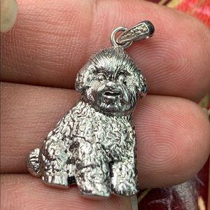 JM Sterling Silver Diamond terrier Dog Pendant
